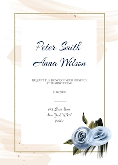 Modelo de cartões de casamento azul