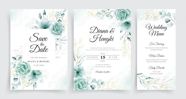 Modelo de cartões de casamento elegante conjunto com eucalipto em aquarela