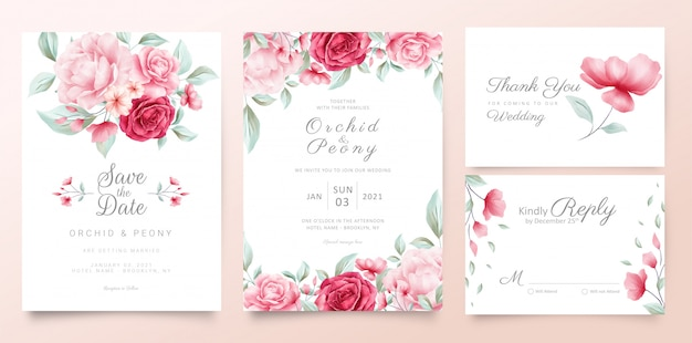 Modelo de cartões de convite de casamento botânico com aquarela flores e folhas selvagens