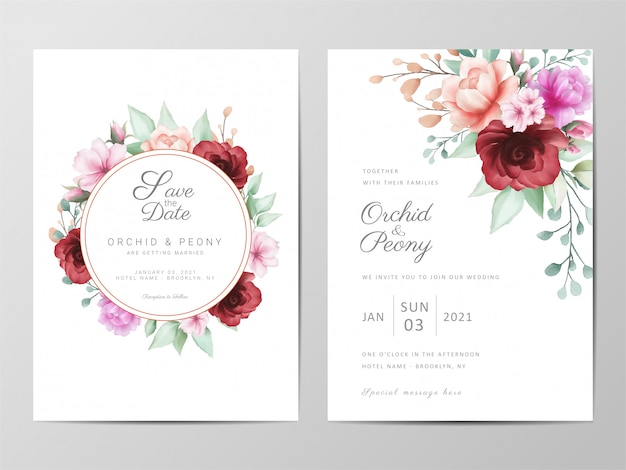 Modelo de cartões de convite de casamento com arranjo de flores em aquarela