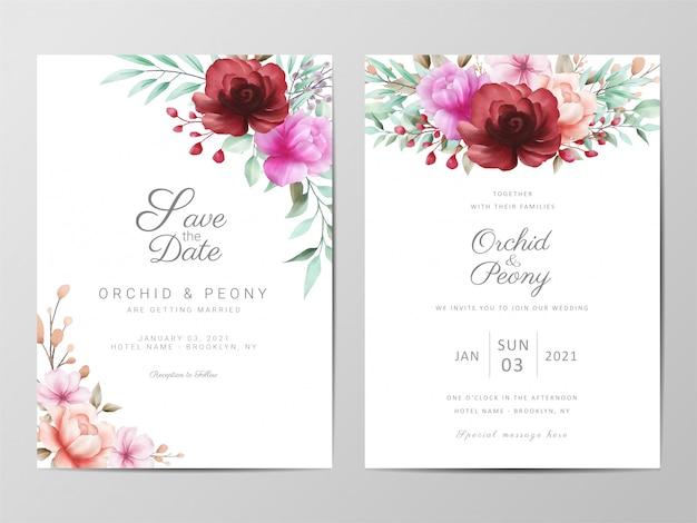Modelo de cartões de convite de casamento com flores em aquarela