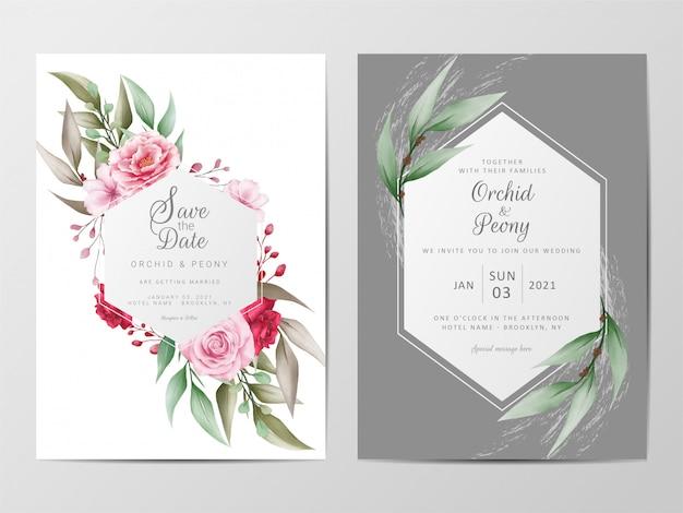 Modelo de cartões de convite de casamento de flores com moldura geométrica