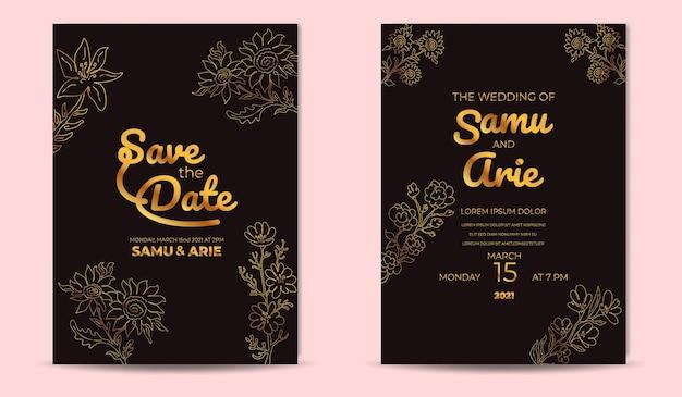 Modelo de cartões de convite de casamento de luxo com linha de flores douradas