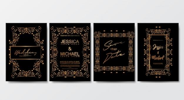 Modelo de cartões de convite de casamento de luxo premium