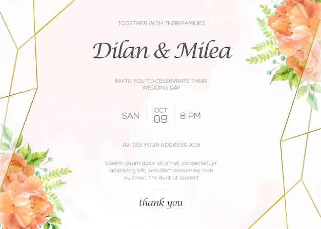 Modelo de cartões de convite de casamento elegante com aquarela decoração floral