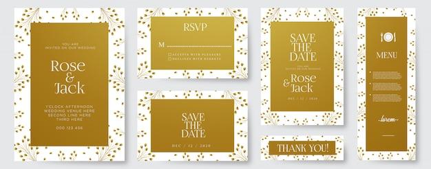 Modelo de cartões de convite de casamento elegante com elementos florais dourados em aquarela