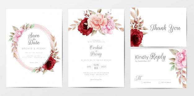 Modelo de cartões de convite de casamento elegante conjunto com decoração de flores em aquarela
