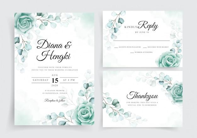 Modelo de cartões de convite de casamento elegante conjunto com eucalipto em aquarela