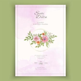 Modelo de cartões de convite de casamento elegantes com decoração floral em aquarela
