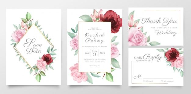 Modelo de cartões de convite de casamento flor elegante conjunto com decoração dourada