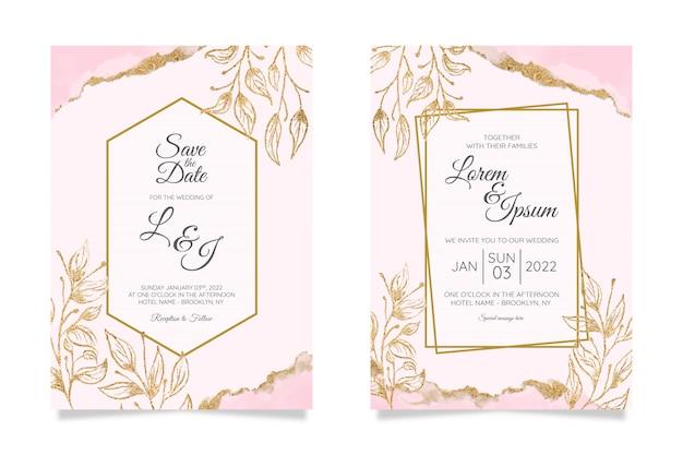 Modelo de cartões de convite de casamento floral com folha de ouro em aquarela