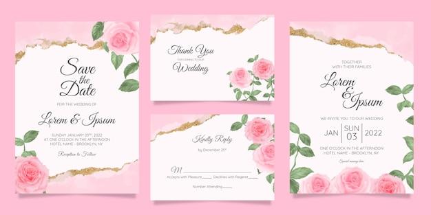 Modelo de cartões de convite de casamento floral com fundo aquarela moldura floral
