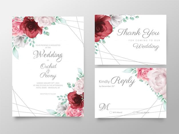 Modelo de cartões de convite de casamento floral elegante conjunto com decoração dourada