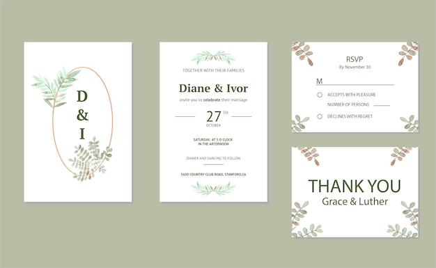 Modelo de cartões de convite de casamento floral elegante em aquarela