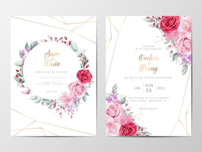 Modelo de cartões de convite de casamento floral moderno conjunto com decoração de flores
