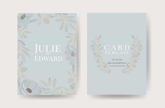 Modelo de cartões de convite de casamento floral