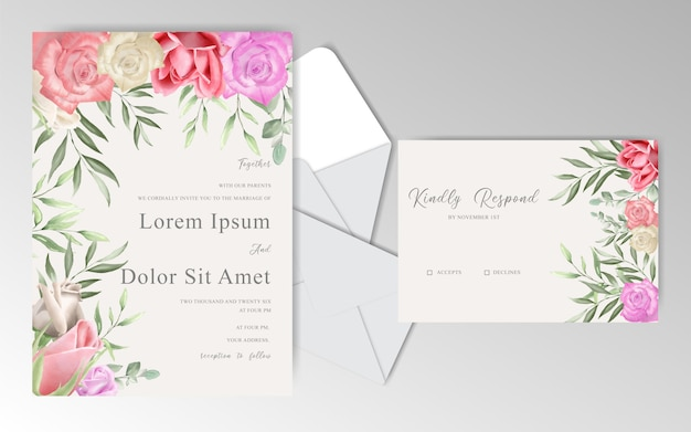 Modelo de cartões de convite de casamento romântico com lindas rosas