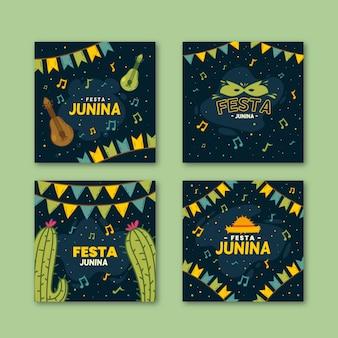 Modelo de cartões de festa junina desenhada de mão