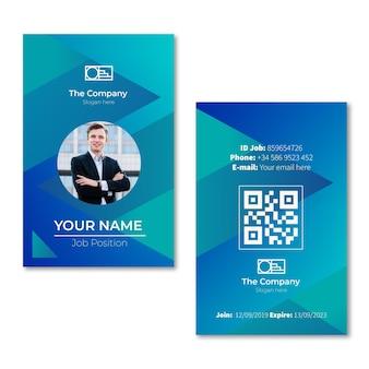 Modelo de cartões de identidade de estilo abstrato com foto