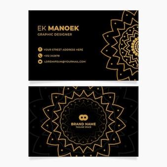 Modelo de cartões de identidade de negócios com flores douradas