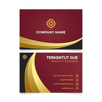 Modelo de cartões de identidade de negócios vermelho e dourado