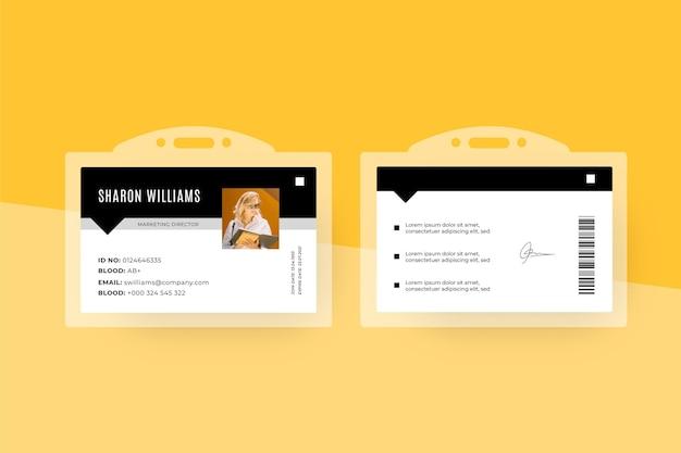 Modelo de cartões de identificação com design mínimo