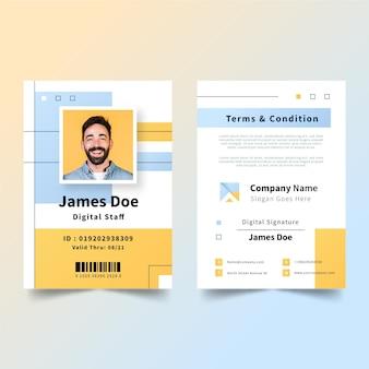 Modelo de cartões de identificação criativos