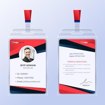 Modelo de cartões de identificação de design abstrato com foto