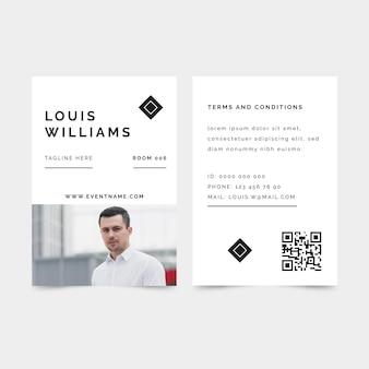 Modelo de cartões de identificação de design minimalista
