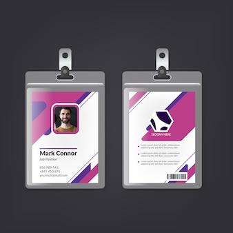 Modelo de cartões de identificação de design mínimo