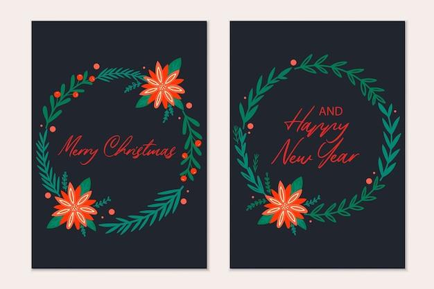 Modelo de cartões de natal com árvore de natal, bolas vermelhas, doces, neve. convite de férias.