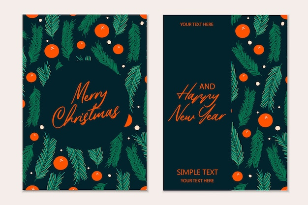 Modelo de cartões de natal com galhos de pinheiro e bagas vermelhas