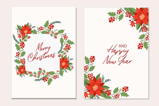 Modelo de cartões de natal com galhos de pinheiro, flores de poinsétia e frutas vermelhas