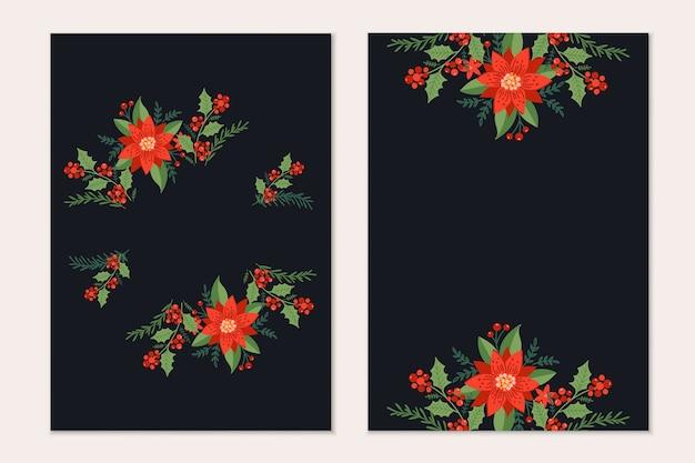 Modelo de cartões de natal com galhos de pinheiro