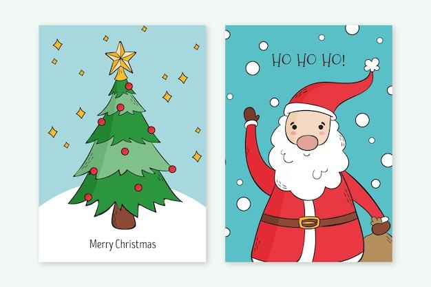 Modelo de cartões de natal desenhado à mão