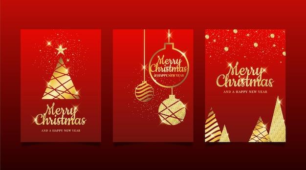 Modelo de cartões de natal dourados