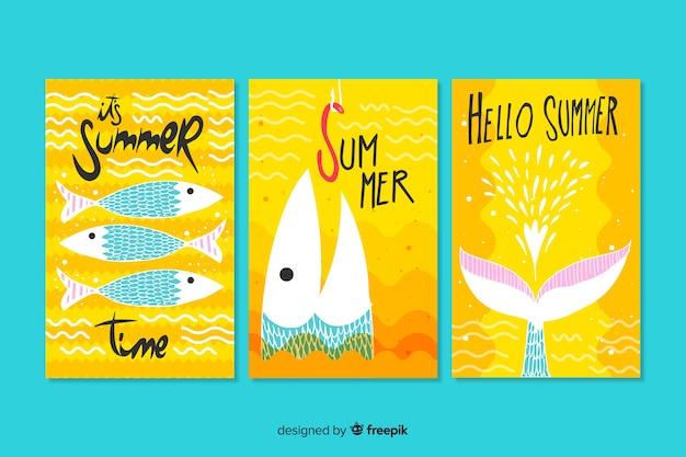 Modelo de cartões de verão desenhada de mão