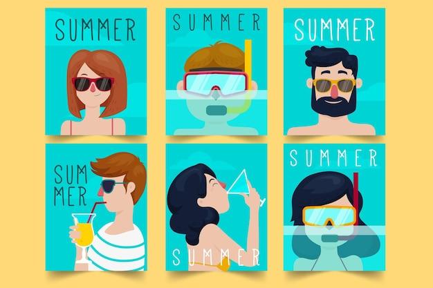Modelo de cartões de verão design plano
