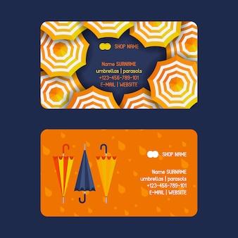Modelo de cartões-de-visita abertos e fechados de guarda-chuva e guarda-sóis