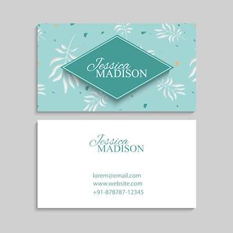 Modelo de cartões de visita abstratos com flores azuis