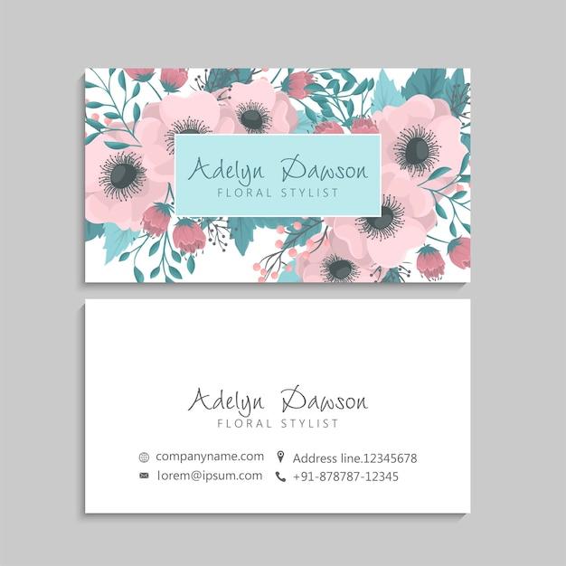 Modelo de cartões de visita abstratos com flores