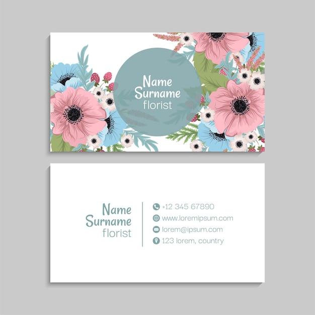 Modelo de cartões de visita abstratos com flores Vetor grátis