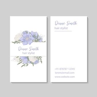 Modelo de cartões de visita com flores azuis claras