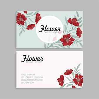 Modelo de cartões de visita com flores fofas