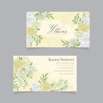 Modelo de cartões de visita de flores em aquarela