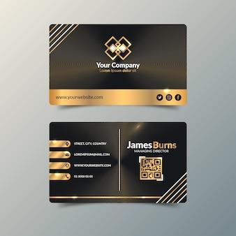 Modelo de cartões de visita de luxo dourado