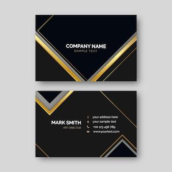 Modelo de cartões de visita dourados e pretos