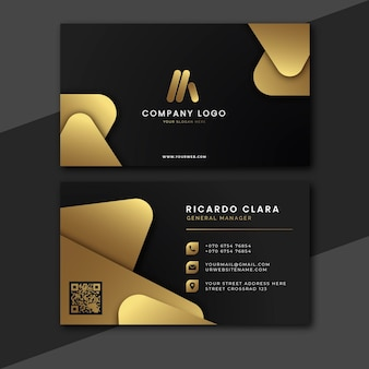 Modelo de cartões de visita dourados