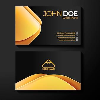 Modelo de cartões de visita gradiente dourado