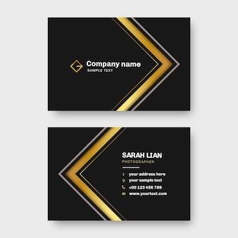 Modelo de cartões de visita preto e dourado
